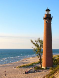 Little Sable Point Light ~ Michigan Lighthouse Pictures, Michigan City, Beautiful Places To Live, Big Lake, Point Light, Grand Haven, Beacon Of Light, Before Sunset, Windy Day