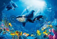 Ocean plants painting murals | ... your poster, your 3D movie poster or similar product Wall Mural 8
