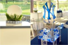 Modern, Unique Baseball Bar Mitzvah Theme Centerpieces - Yankees {The Event of a Lifetime} - mazelmoments.com