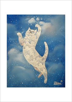 Cat plays with clouds by Raphael Vavasseur on Etsy Art Cats, more like this on separate board: artist Raphael Vavasseur