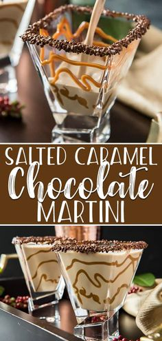 Salted Caramel Chocolate Martini will leave you dreaming sweet dreams! Made with chocolate liqueur, Irish cream, vodka, and a touch of salted caramel, this easy yet sophisticated cocktail will have everyone asking for one of their own. Salted Caramel Martini, Salted Caramel Chocolate, Chocolate Caramels, Vodka Caramel, Salted Caramels, Cocktail Desserts, Dessert Drinks, Yummy Drinks, Summer Cocktails