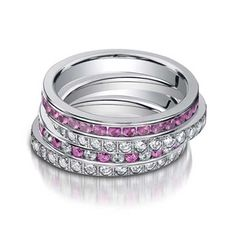 Benchmark Pink Sapphire & Diamond Stackable Ring Set