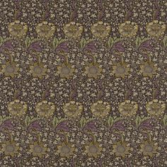 Kennet Linen Fabric A large scale floral in gold with a smaller floral background printed with a aubergine background.