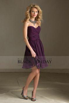 A Line Sweetheart Knee Length Chiffon Bridemaid Dresses Ruffles New USD 79.99 BFPH9LK62L - BlackFridayDresses.com for mobile