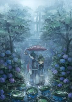 finding joy in a rainy day by Ezro (Mega Gallade, Wally, Castform, and Lotads)