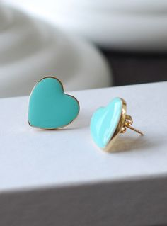 Heart Stud Earrings Robin Egg Blue Tiffany Blue Heart