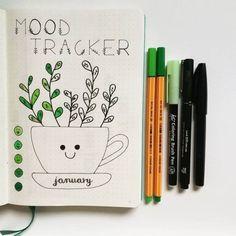 Bullet journal mood tracker, plant drawing, cute bullet journal layout.   @poli.bujo