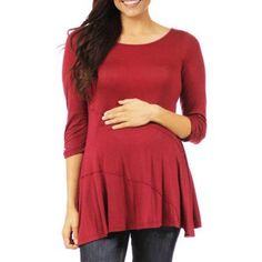 24/7 Comfort Apparel Women's Solid Maternity Tunic, Size: XL, Red