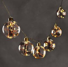 Starry Glass Globe String Lights - Amber Lights On Copper Wire