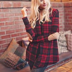 """The softest plaid base pairs with darling elbow patches on this cardigan jacket. Designed with an open front, long sleeves, and the sweetplaidbase. Darling paired with jeans and boots for fall. Color: Red paid 96% polyester & 4% spandex Made with love in the U.S. Hand wash cold Model is 5'8"""" and wearing a size small  Small Medium Large Bust open open open Waist open open open Hips open open open Length 32 32 32 Bust, waist, and hip measurements are a tot..."""