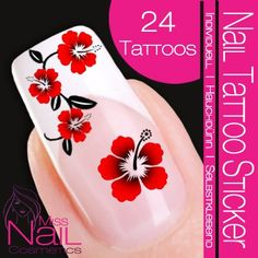 Nail Art Tattoo Sticker Hibiscus / Flower / Blossom - red. #beauty, #make up, #nails