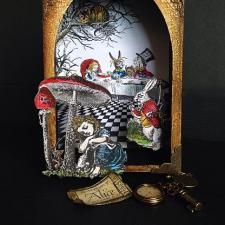 Mixed Media Blog Project - Alice in Wonderland Shrine - Like so many I have been mesmerized by the story from childhood in honour of the 150th Anniversary I created an Alice in Wonderland Shrine Medium Blog, Alice In Wonderland, Snow Globes, Mixed Media, Childhood, Anniversary, Tutorials, Create, Paper