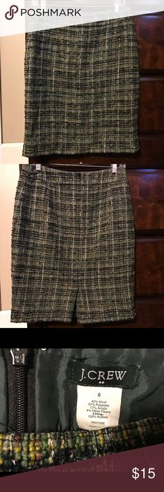 J Crew Wool Pencil Skirt Size 6 Green Houndstooth Pencil Skirt Size 6 J Crew Skirts Pencil