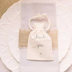 These 'thank you' cotton favour bags from The Wedding of My Dreams would look lovely on your reception tables
