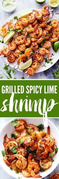 (6) Grilled Spicy Lime Shrimp with Creamy Avocado Cilantro Sauce | Recipe