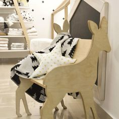 Deer kids chair Wood handmade furniture