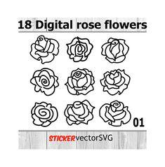 Наклейка | обои | розы | домашний декор | вектор | Файл SVG | Вырезать файлы | мгновенная загрузка | Цифровые | Файлы | любой цвет