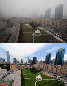 BEIJING, CHINA - The top photo shows pollution in Beijing, on Dec. 5, 2011, while the bottom photo shows the same scene on a blue sky day, on August 18, 2011. (Mark Ralston - AFP/Getty Images)