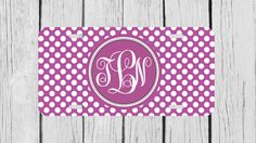 Personalized Monogrammed Polka Dots Purple License by TopCraftCase