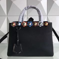 c59a76f4c7b4 Fendi Calfskin 2Jours Bag With Multicoloured Flower Studs Black 2017 Fendi  Peekaboo Bag