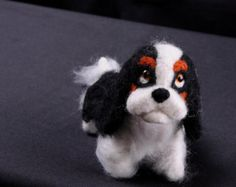 Needle Felted Cavalier King Charles Spaniel. Needle felted dog sculpture. One of a kind Dog Art