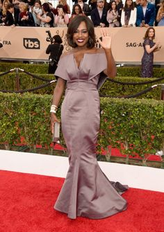 Viola Davis in a structured lilac gownat the 22nd Annual Screen Actors Guild Awards at The Shrine Auditorium on January 30, 2016 in Los Angeles, California.