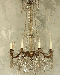 Antique European Crystal Chandelier Eight Arm-French, patina, old, elegant, upscale, luxurious, crystals, drops,lighting,