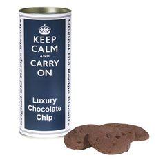Valentines Day Gift Ideas Keep Calm and Carry On Chocolate Chip Cookies Biscuits Food Gift Set of 2 Tins $30.00