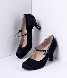 1930s Style Shoes Pleaser Black Satin Flapper Style Rhinestone Kitten Heels  Size 12 $62.00 AT vintagedancer.com