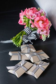 kraft boxes with black striped ribbon - put a cork in the box and a small business card sized invitation - hand deliver in mail boxes? Diy Wedding Favors, Wedding Themes, Wedding Designs, Wedding Bouquets, Wedding Ideas, Wedding Blog, Wedding Flowers, Dream Wedding, Popular Color Schemes