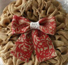 Burlap Christmas tree bows, Burlap Christmas bows.