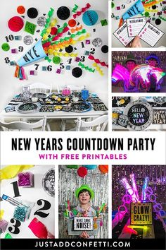Cue the confetti! It's a New Years Countdown Party! This party is so much fun—full of bright colors and a ton of activities to keep your family and friends busy until the ball drops! Complete with free printables and lots of easy ideas and inspiration, this party can be recreated in no time! #JustAddConfetti #freeprintables #newyearseve #nye #newyears #countdown #nyeparty #diypartydecor #partyprintables