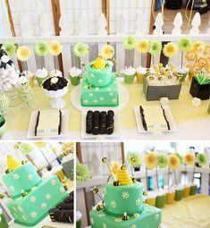 Modern Bumble Bee Birthday Party // Hostess with the Mostess® Baby Shower Parties, Baby Shower Themes, Baby Shower Decorations, Shower Ideas, Baby Showers, Shower Centerpieces, Shower Party, Bumble Bee Birthday, Bee Cakes