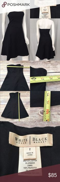 🌷WHBM 2 Black Tube Top A-Line Knee Length Dress Measurements are in photos. NEVER WORN, no flaws E1/27  I do not comment to my buyers after purchases, due to their privacy. If you would like any reassurance after your purchase that I did receive your order, please feel free to comment on the listing and I will promptly respond. I ship everyday and I always package safely. Thanks! White House Black Market Dresses Strapless