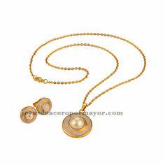 juego de collar y aretes de perla con cristal de dorado para mujer-SSNEG381444