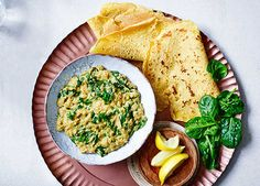 Spinach and coconut dhal with chickpea flatbreads recipe | Homemade