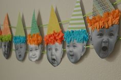 Cutest idea ever for a 1st Birthday banner: Baby Birthday Banner {Tutorial} Or for any birthday .. could have a picture from every year or a few different years for a 50th Birthday party!