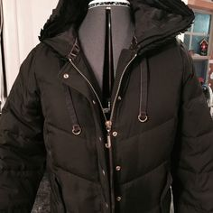 "JUICY COUTURE HOODED BOMBER DOWN PUFFER COAT! Super nice JUICY COUTURE BOMBER PUFFER COAT.  80% Down  20% Feather filling.  Lining 100% Polyester. Shell 100% Polyester.. Beautiful  logo buttons and ""J"" zip pull. Juicy Couture Jackets & Coats Puffers"