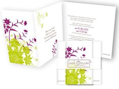 Hochzeitskarten+-+Wild+Ornaments+Grün+&+Violett