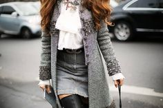 tweed coat, denim skirt and over the knee boots