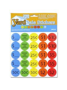 Yard Sale Pricing Stickers (Available in a pack of 24)