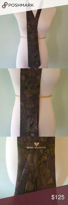 Unique 1920s scene Mario Valentino Necktie Flapper inspired purple and green tie. Very unique and unusual. 100% Italian Silk. Made in USA. Mario Valentino Accessories Ties