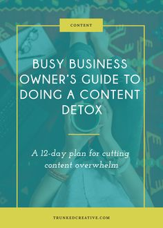 Busy Business Owner's Guide To Doing A Content Detox by Trunked Creative E-mail Marketing, Small Business Marketing, Content Marketing, Online Marketing, Creative Business, Business Tips, Online Business, Creating A Business Plan, Time Management Tips