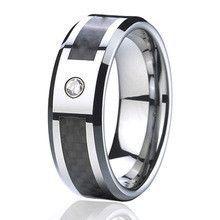 alliance anel cz diamond 8mm Black Carbon Fiber titanium titanium tungsten wedding band jewelry rings for men and women