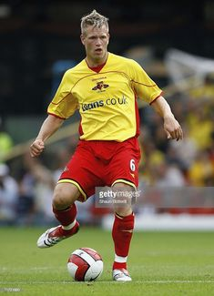 Jay DeMerit of Watford during the Barclays Premiership match between Watford and Manchester United at Vicarage Road on August 2006 in Watford, England. Watford Fc, Football Players, Manchester United, Jay, Soccer, Running, Sports, England, Hs Sports