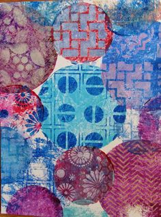 Round Gelli Plate Tutorial Part 1 with Mixed Media Artist - Diane Salter!  And  from  there  I  just  kept  going--randomly  'stamping'  the  6  and  4  inch  plates all  over  the  paper--