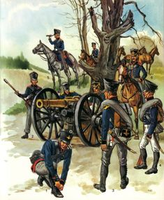 Artillery. 1.Gunner Foot Artillery 1808/ 2,3 Foot Artillery 1815/ 4 Pioneer 1813/ 5 Field Officer, Horse Artillery 1815/ 6. Non-Commissioned officer Horse Artillery 1815