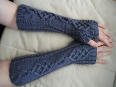 Knitting Pattern Name: Fire & Ice Fingerless Mitts Pattern by: Roz Harmon