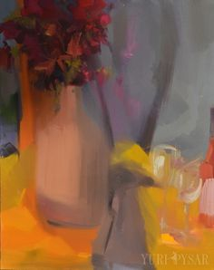 Contemporary Art Still Life Painting Fall Grey Orange by Pysar