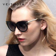 VEITHDIA Rétro TR90 Vintage lunettes de Soleil Polarisées Cat Eye Dames Designer Femmes lunettes de Soleil Lunettes Accessoires Femelle Femmes 7016